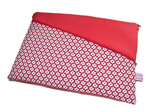 Tablet Hülle Notebooktasche Retro Flower rot mit Haupt- und Außenfach, Maßanfertigung