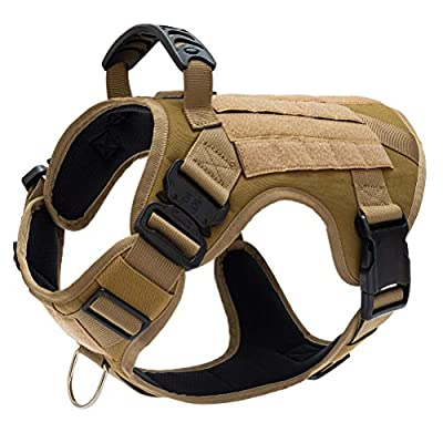CHOLEGIFT Tactical Dog Harness with Handle, Military Mesh Working Dog Harness Vest, No Pull Adjustable Service Vest with Metal Clips for Walking and Training