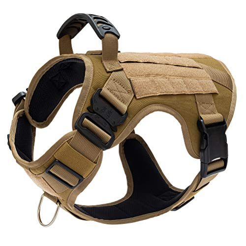 Tactical Dog Harness with Handle, Military Mesh Working Dog Harness Vest, No Pull Adjustable Service Vest with Metal Clips for Walking and Training