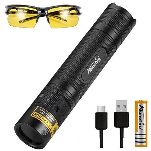 ALONEFIRE SV005 10W LED 365nm UV Taschenlampe Schwarzlicht Tragbarer USB Wiederaufladbar Schwarzlicht Vollmetallgehäuse Haustier Urinmelder mit UV-Schutzbrille, 18650 Batterie zur Harzhärtung