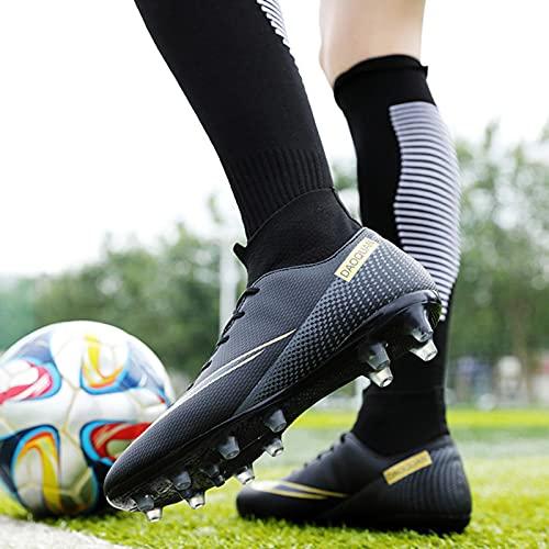 XRDSHY Zapatillas de Fútbol Hombre Spike Aire Libre Profesionales Atletismo Training Botas de Fútbol Hombre Zapatillas de Deporte,Black-37 EU