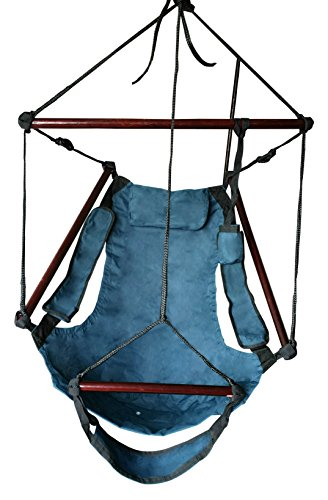 SueSport Hanging Rope Hammock Chair Porch Swing Seat Sky Chair with Cushions for Any Indoor or Outdoor Spaces - Max. 265 Lbs - 2 Seat Cushions Included