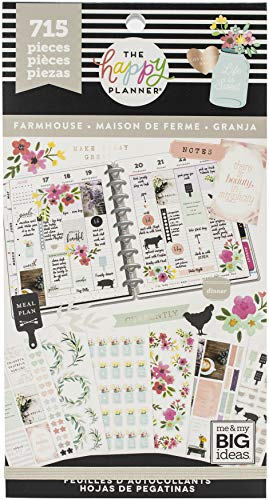 me & my BIG ideas Sticker Value Pack - The Happy Planner Scrapbooking Supplies - Farmhouse Theme - Multi-Color Stickers - Great for Projects, Scrapbooks & Albums - 30 Sheets, 715 Stickers Total