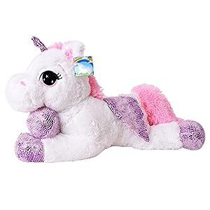 Te-Trend Caballo de Peluche Unicornio Unicorn Tendida 60cm Fucsia o Blanco con Púrpura Aplicaciones y ala - Blanco