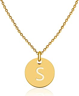 Gd GOOD.designs - Golden Letter Necklace for Women with Round Pendant (40 + 5cm) Initial Jewelry for Ladies