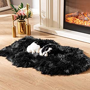 Asrug Soft Faux Fur Pet Bed Mat Plush and Fluffy Pet Pad Ultra Cozy Pet Throw Rug for Dogs Cats, 24 by 36 inches