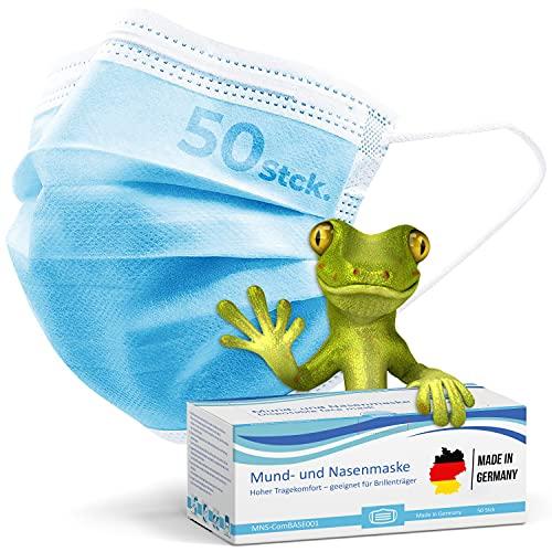kela, 50 Stck. Mund- und Nasenmaske, Behelfsmaske, Alltagsmaske, Mund- und Nasenabdeckung, 3-lagig, blau, Made in Germany, DIN EN ISO 10993-5 und Oeko-tex Zertifiziert