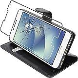 ebestStar - Cover Compatibile con ASUS Zenfone 4 Max ZC554KL (PRO, Plus) Custodia Portafoglio Pelle PU Protezione Libro Flip, Nero + Pellicola Vetro Temperato [Apparecchio: 154 x 76.9 x 8.9mm, 5.5'']