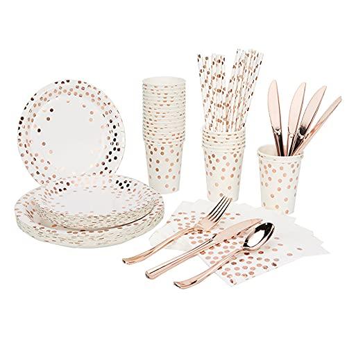 PPuujia Vajilla desechable 105 piezas para 10 personas con suministros de papel de oro rosa, decoración de boda, juego de bandejas de papel desechables para niños (color rosa dorado punto)