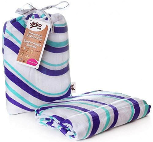 Easy enfants idées bmb12 0017 a Bambou Serviette à langer pour pucken, wickeln ou comme Tapis, Puck Chiffon bleu 120 x 120 cm