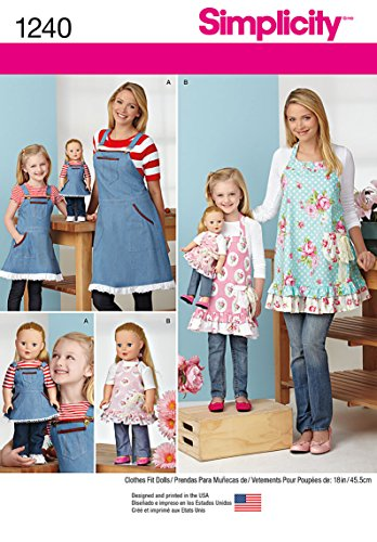 Simplicity 1240 18'' Doll's, Girl's, and Women's Apron Sewing Pattern, Sizes S-L