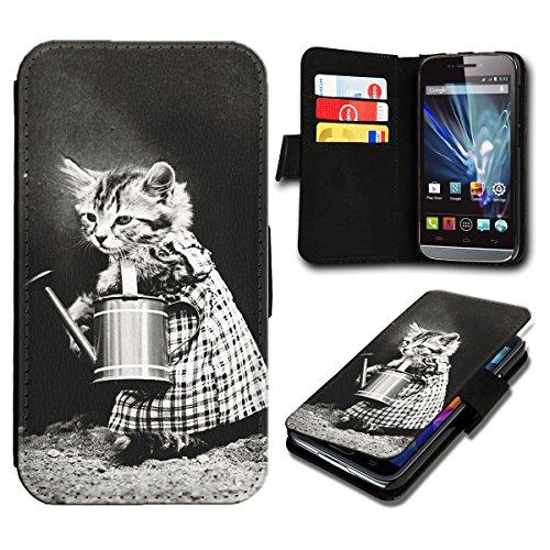 sw-mobile-shop Book Style Wiko Fizz Premium PU-Leder Tasche Flip Brieftasche Handy Hülle mit Kartenfächer für Wiko Fizz - Design Flip SB775