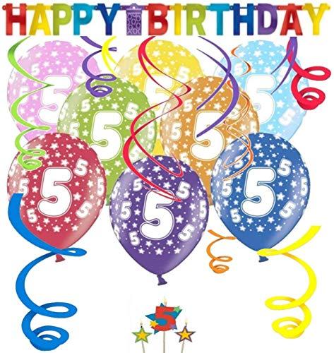 Libetui Geburtstag Dekoration Deko-Set 'Stern' Kindergeburtstag Happy Birthday Bunte Partykette farbenfrohe Girlande Spirale Luftballons und Geburtstags-Kerzen (5. Geburtstag)