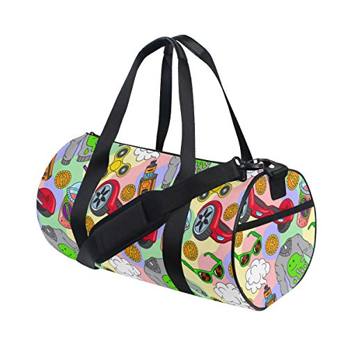 PONIKUCY Sports Gym Bag,Hoverboard Fidget Spinner Vape Ecigarettes Smoothie,Holdall Gym Bag Sports Duffel Bag with for Weekender Overnight Carry