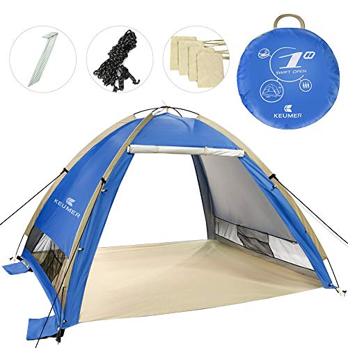 Zwini Pop Up Beach Tent voor 3-4 Persoon Draagbare UPF 50+ UV Bescherming Zonwering Outdoor Automatische Zonwering Instant Tent Outdoor Cabana voor Baby, Familie
