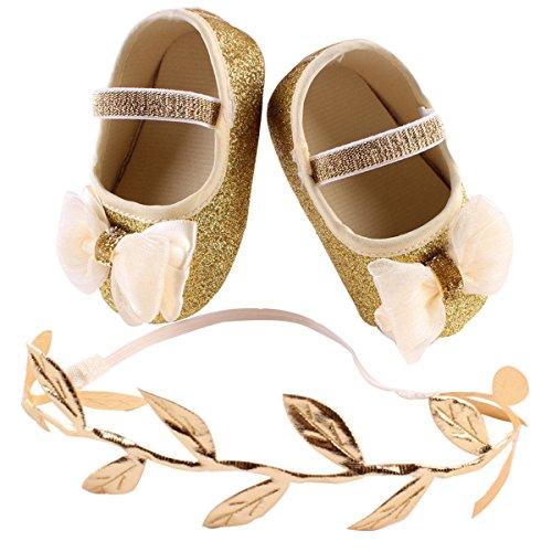 OULII Bebe Niñas Zapatos con Diadema Bebe Prop Cabina de Fotos Juego de Regalo Para Niñas Recién Nacidos - 11CM (Oro)