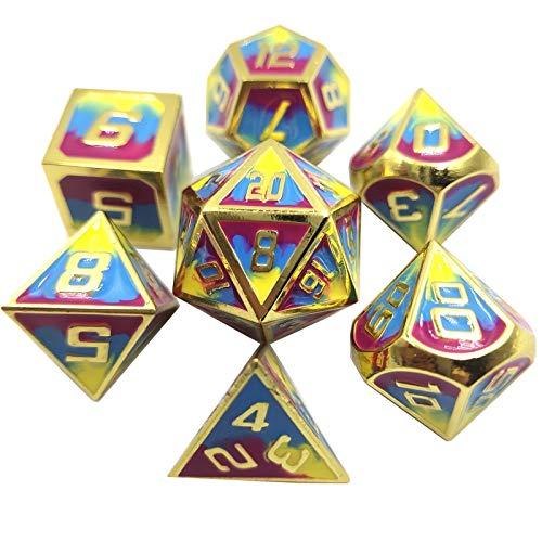 Conjunto de Dados Rainbow Rayado Dados Set Metal Dice Fashion Style Board Accessories Dados (2 Juegos) DND Game Polyhedral D & D (Color : Yellow Blue Red, Size : 16mm)