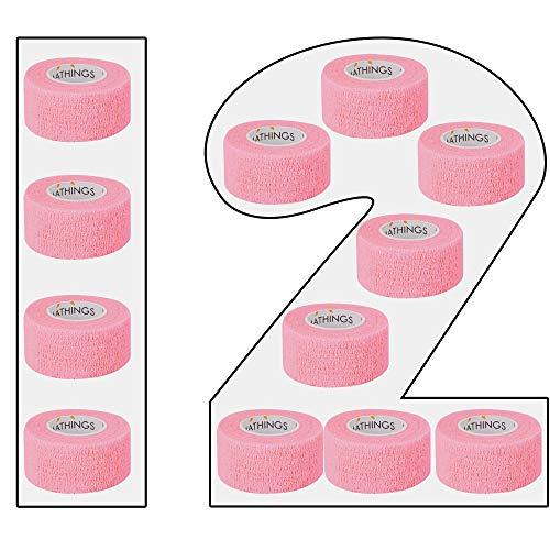 12 Pflasterverbände Selbsthaftende Bandagen In PINK Elastischer Fixierverband 2,5 CM Breit 4,5 METER Lang Fingerpflaster, Wundverband Auch Für Zehen, Füße Ohne Kleber Von Amathings