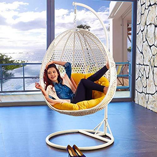WGG Cojines de silla con forma de nido de huevo, cojín de cesta Almohadillas de mimbre de mimbre colgantes Hamaca colgante Asiento individual Lavable sin sillas,Amarillo,D105cm (41inch)
