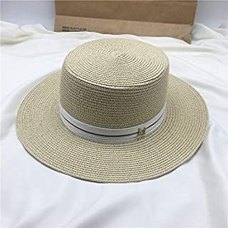 EDCA New Simple Flat Top White Hat Elegant Fashion Ribbon Straw Hat Inverness Vacation Sunscreen Sunshade (Color : Ivory)