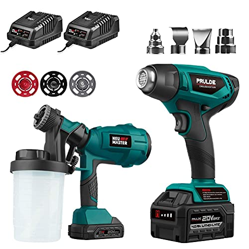 Cordless Paint Sprayer with 3 Spray Nozzles (2.0Ah Battery and Charger Included) NEU MASTER and Cordless Heat Gun (4 Nozzles and 4.0Ah Battery and Charger Included)