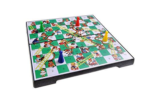 Magnetisches Brettspiel (Premium Größe): Leiterspiel / Schlangen und Leitern / Snakes and Ladders - magnetische Spielsteine, Spielbrett zusammenklappbar, 25cm x 25cm x 2cm, Mod. SC2630 (DE)