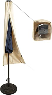 C-Hopetree LED Patio Umbrella Storage Cover Suits 9 to 11 Feet Hanging Outdoor Patio Umbrella, Water Repellent, Beige