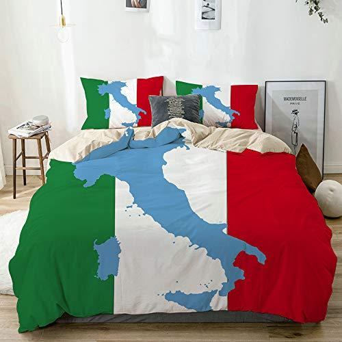 Aliciga Bedding Juego de Funda de Edredón,Beige,Fondo de Bandera Italiana,Microfibra SIN Relleno,(Cama 240x260 + Almohada)