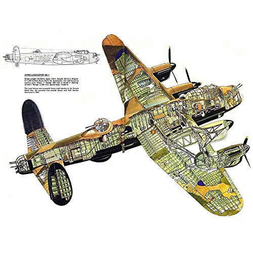 Wee Blue Coo War Drawing Plane Bomber Avro Lancaster Cutaway WWII UK Art Print Poster Wall Decor 12X16 inch
