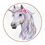 Coasters for Drinks Leather Print Drink Coasters (4.3 Inch, Round, 12mm Thick), Hermoso Unicornio Absorbent Heat-Resistant Coasters for Drinks, Great Housewarming Gift Set of 6 11 cm