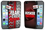 'Fear the Husker' and 'Husker Nation' Chevron Sports Black Plastic Cover Case COMBO TWO PACK for iPhone 5 or 5s