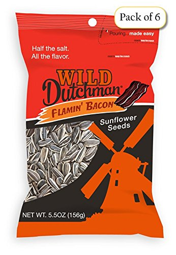 Wild Dutchman Sunflower Seeds, Flamin' Bacon, 5.5 oz Bags (Pack of 6)