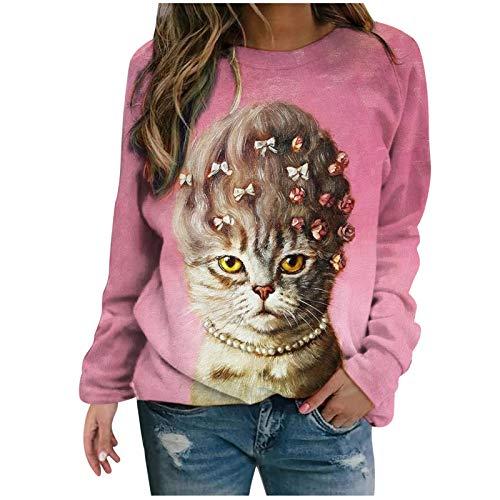 SOMESUN Damen Rundhals Langarm Classic Elegante Weihnachtsdruck T Shirt Katzendruck...