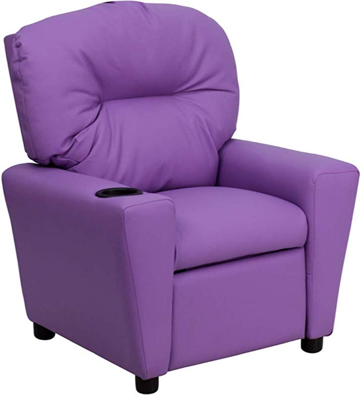Offex OFX 86998 FF Contemporary Vinyl Kids Recliner With Cup Holder Lavender