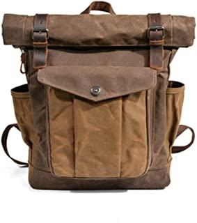Retro Mountaineering Mens Outdoor Bag Waterproof Waxed Canvas Men Laptop Backpack (Color : Brown, Size : 30cm*11.5cm*43cm)