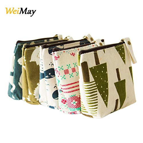 WeiMay 5 x Geldbörse Mode Einfacher Stil Reißverschluss Münzen Beutel kleine Mappe Makeup Tasche Schlüssel beutel