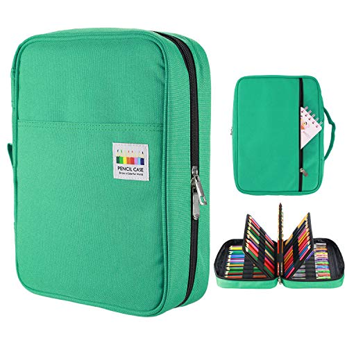 YOUSHARES 220 Slots Colored Pencil Case, 145 Slots Gel Pens fo Coloring Case Organizer, Handy Multilayer Color Pencil Holder for Glitter Gel Pens, Refills, Colored Pencils (Green)