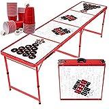 MBP My Beer Pong® Premium Bierpong Tisch (Big Beer Theory) + 50 Premium Becher & 6 Ping Pong Bälle - Wasserabweisend - Klappbarer & Stabiler Aluminium Tisch für Sommer, Partys & Turniere