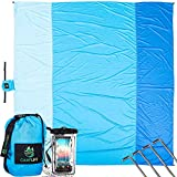 Sand Free Beach Blanket - Extra Large 10' x 9' Beach Mat for 7 Adults - Oversized Sand Proof Picnic Blanket for Travel, Camping, Hiking, Music Festivals - Lightweight Durable Quick Dry Ground Cover