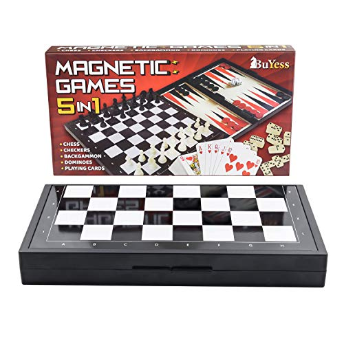 5 in 1 Mini Magnetic Chess Checkers Dominoes Backgammon and Cards Set, Small Travel Size Board Games