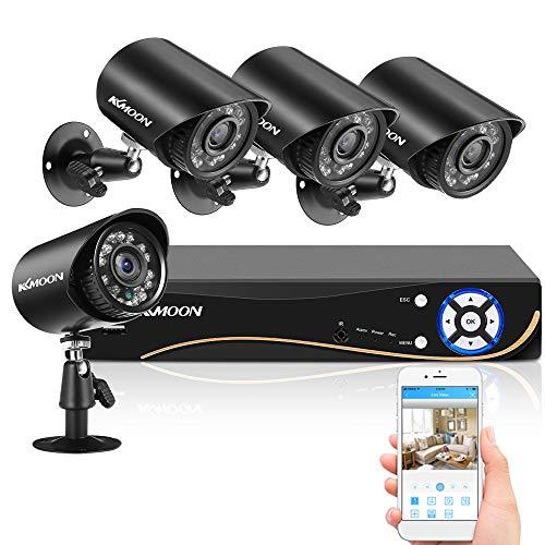 KKmoon Kits de Vigilancia DVR, 8CH DVR + 4PCS 2MP Full HD Cámara Impermeable Interior Exterior, Soporta Visión Nocturna, Detección de Movimiento, Acceso Remoto (Sin Disco Duro)