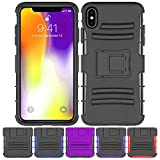 iPhone Xs MAX Stand Case, HLCT Rugged Shock Proof Dual-Layer Case with Built-in Kickstand for iPhone Xs MAX (Black)
