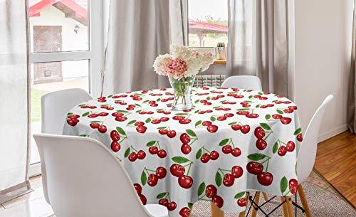ABAKUHAUS Fruit Nappe Ronde, Motif Cerise Fruit, Nappe en Cercle pour Salle à Manger ou Cuisine, 150 cm, Blanc Vermilion Vert