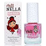 Miss Nella PINK A BOO- rosado Esmalte especial para uñas con brillos para niños, fórmula despegable, a base de agua y sin olor