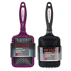 top rated Revlon Straight  Smooth Soft Touch Paddle Hairbrush Set Black + Berry 2021