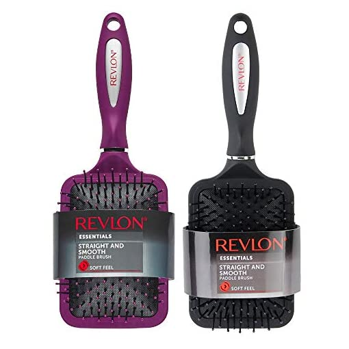 - 51j0V9hfg L - Revlon Paddle Hair Brush Set, Straight & Smooth Soft Touch, Black + Berry