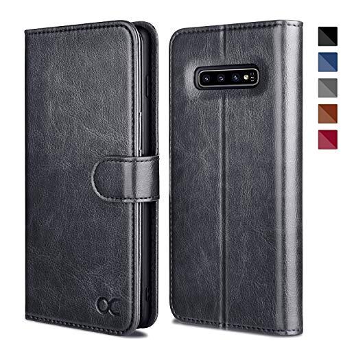 OCASE Hülle für Samsung Galaxy S10+ Plus Handyhülle [Standfunktion] [Kartenfach] [Magnetverschluss] Schlanke Leder Brieftasche Hülle für Samsung Galaxy S10 Plus Grau