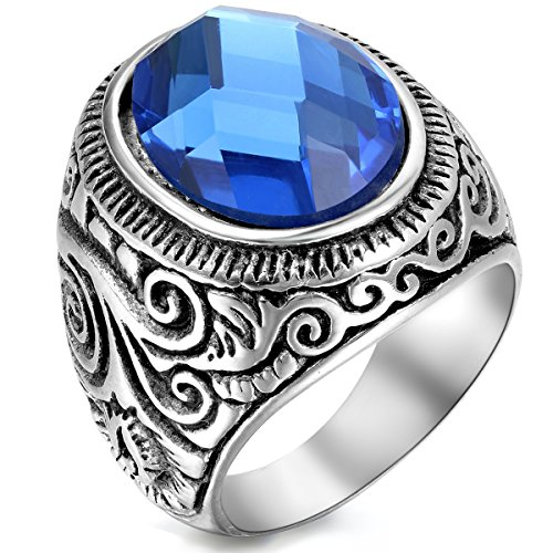Flongo Men's Vintage Stainless Steel Statement Ring Celtic Knot Blue Glass Class Band, Size 11