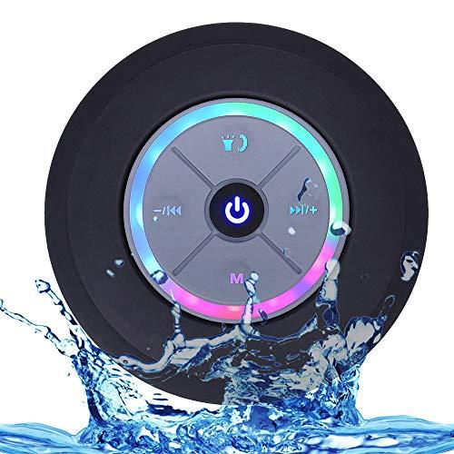 Mini Altavoz de Ducha inalámbrico BT IPX4 Altavoces portátiles Impermeables con luz LED Radio FM Sonido estéreo Fuerte Micrófono Incorporado Ventosa Soporte de Altavoz Tarjeta TF de Llamada Manos