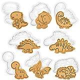 Stampi Biscotti Dinosauri, 8PCS Formine Biscotti Dino, Timbri forme per Biscotti, Stampini Animali Plastica Bianca, 3D Forme Tagliabiscotti Bambini, Party Decorazioni